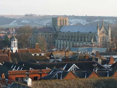 View of Winchester town and cathedral